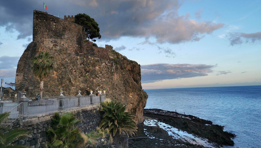 The Norman castle of Aci Castello and the fishing village of Aci Trezza